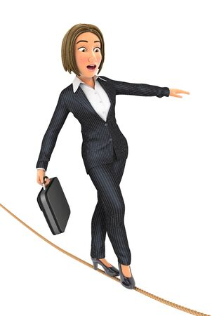 3d business woman walking on a rope, illustration with isolated white background Reklamní fotografie
