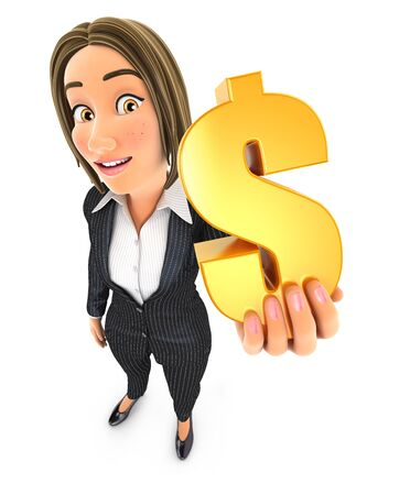 3d business woman holding gold dollar sign, illustration with isolated white background