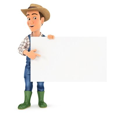 3d farmer pointing empty board, illustration with isolated white background Foto de archivo