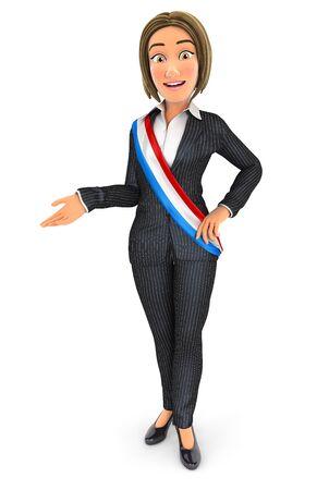 3d business woman wearing écharpe de maire français, illustration avec fond blanc isolé