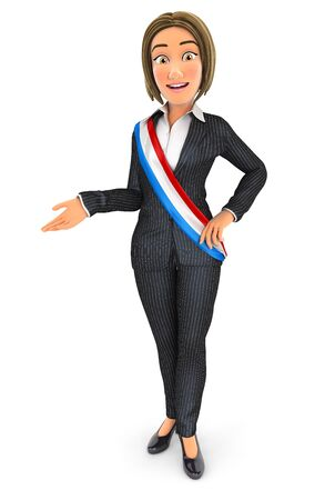 3d business woman wearing french mayor sash, illustration with isolated white background