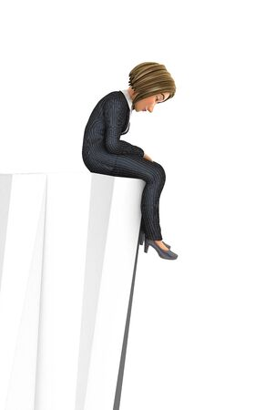 3d sad business woman sitting on top of the mountain, illustration with isolated white background 스톡 콘텐츠