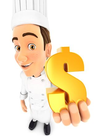3d head chef holding gold dollar sign, illustration with isolated white background Zdjęcie Seryjne