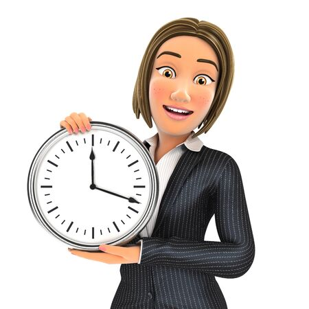 3d business woman showing a wall clock, illustration with isolated white background