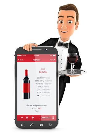 3d waiter standing behind smartphone, illustration with isolated white background