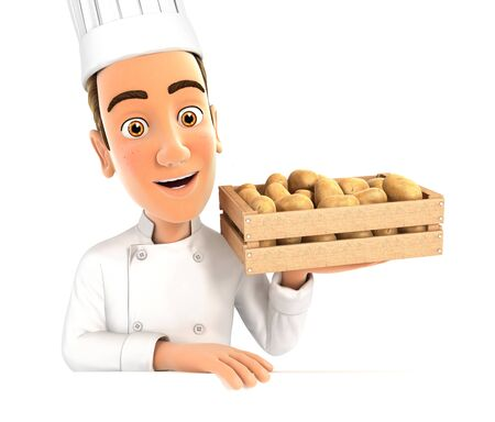 3d head chef holding wooden crate of potatoes, illustration with isolated white background