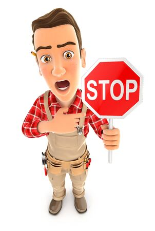 3d handyman stop sign, illustration with isolated white background