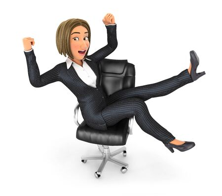 3d business woman celebrating success at work, illustration with isolated white background