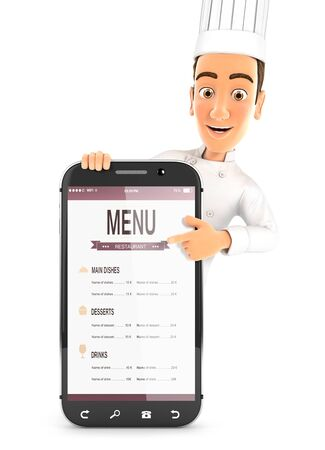 3d head chef pointing to smartphone, illustration with isolated white background Zdjęcie Seryjne