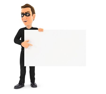 3d thief pointing empty board, illustration with isolated white background Zdjęcie Seryjne