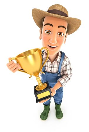3d farmer standing with gold trophy cup, illustration with isolated white background Zdjęcie Seryjne