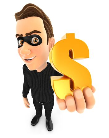 3d thief holding gold dollar sign, illustration with isolated white background