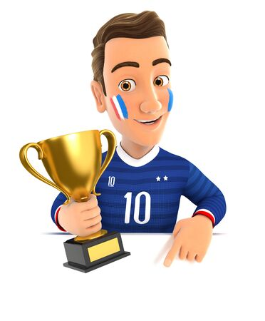 3d french soccer fan with trophy cup pointing to empty wall, illustration with isolated white background Zdjęcie Seryjne