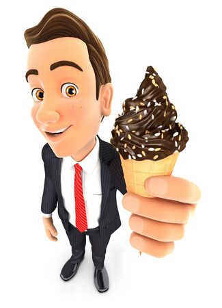 3d businessman holding chocolate ice cream, illustration with isolated white background