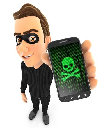 3d thief holding hacked smartphone, illustration with isolated white background Zdjęcie Seryjne
