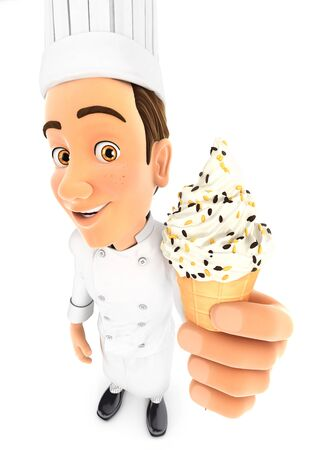 3d head chef holding an ice cream, illustration with isolated white background