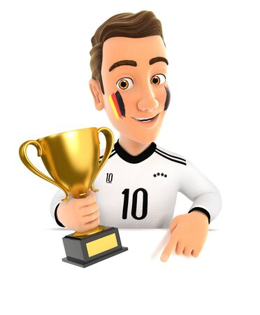 3d german soccer fan with trophy cup pointing to empty wall, illustration with isolated white background