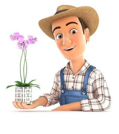 3d farmer presenting an orchid, illustration with isolated white background
