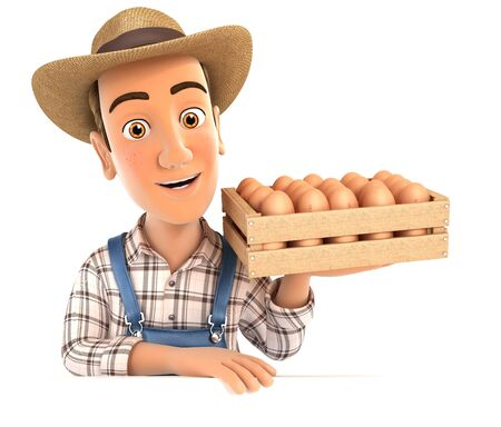 3d farmer holding wooden crate of eggs, illustration with isolated white background
