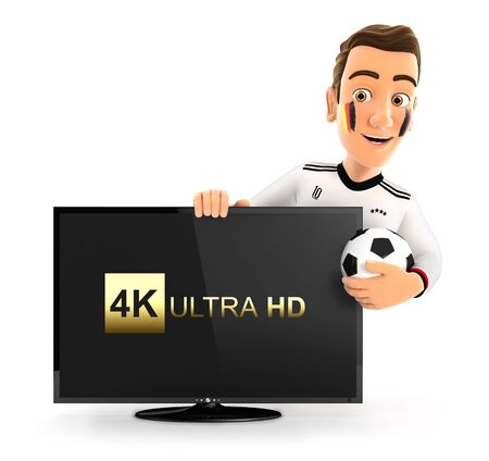 3d german soccer fan with 4K ultra HD television, illustration with isolated white background