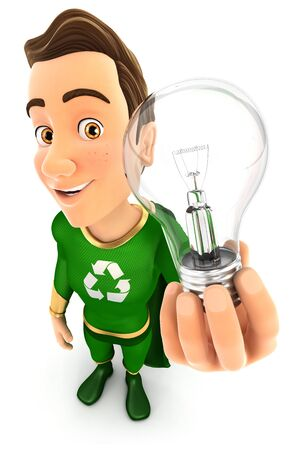 3d green hero holding a light bulb, illustration with isolated white background