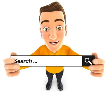 3d man holding a search bar, illustration with isolated white background Stock Photo