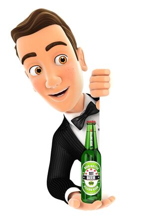 3d waiter behind left wall and holding beer bottle, illustration with isolated white background
