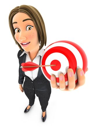 3d business woman holding a sphere target, illustration with isolated white background 写真素材