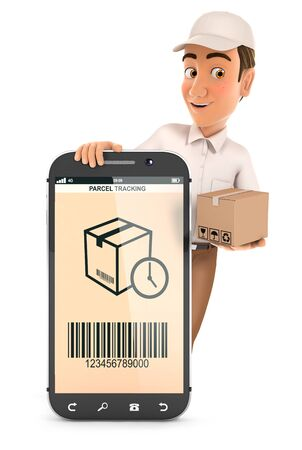 3d delivery man standing behind smartphone with package, illustration with isolated white background 版權商用圖片