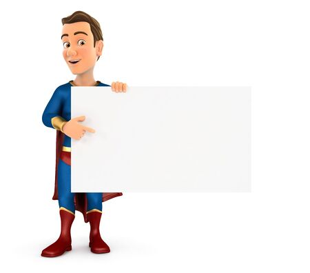 3d superhero pointing empty board, illustration with isolated white background