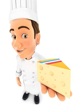 3d head chef holding piece of cheese, illustration with isolated white background Zdjęcie Seryjne