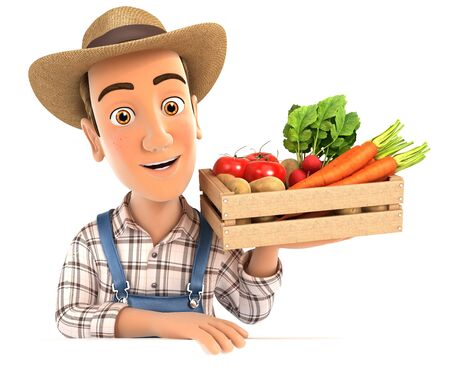 3d farmer holding wooden crate of vegetables, illustration with isolated white background