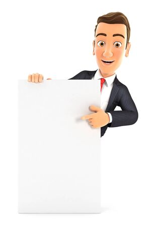 3d businessman pointing to vertical board, illustration with isolated white background 写真素材