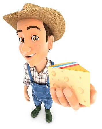 3d farmer holding piece of cheese, illustration with isolated white background Zdjęcie Seryjne