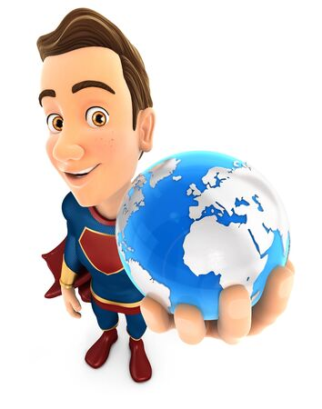 3d superhero holding blue earth, illustration with isolated white background