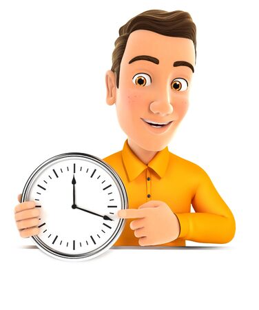 3d man pointing on a wall clock, illustration with isolated white background