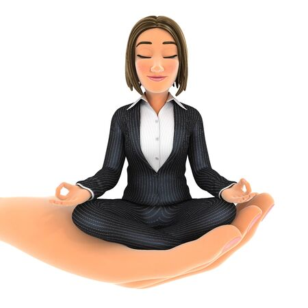 3d hand holding business woman doing yoga, illustration with isolated white background