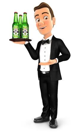 3d waiter standing with beer bottles, illustration with isolated white background Zdjęcie Seryjne