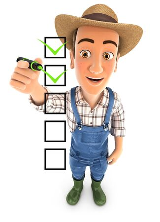3d farmer checklist, illustration with isolated white background