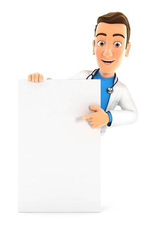 3d doctor pointing to vertical board, illustration with isolated white background 版權商用圖片 - 132122378