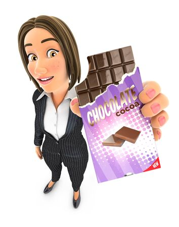 3d business woman holding chocolate bar, illustration with isolated white background 写真素材