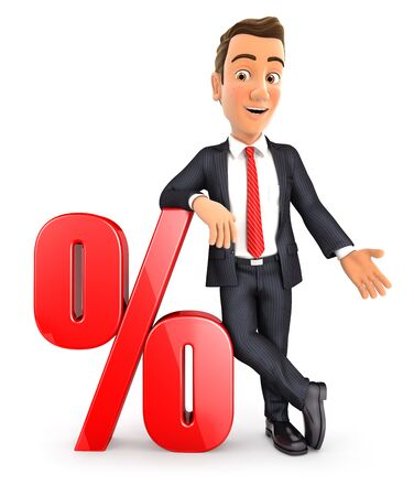 3d businessman leaning against percent sign, illustration with isolated white background 写真素材