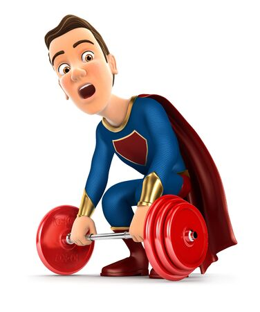 3d superhero trying to lift heavy weight, illustration with isolated white background
