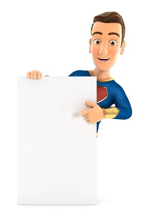 3d superhero pointing to vertical board, illustration with isolated white background Reklamní fotografie