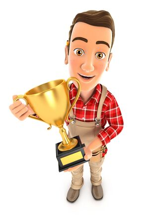 3d handyman standing with gold trophy cup, illustration with isolated white background