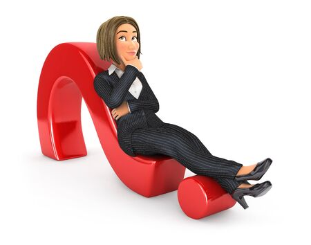 3d business woman lying on question mark, illustration with isolated white background