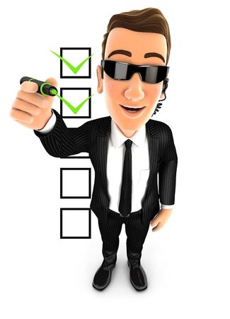 3d security agent checklist, illustration with isolated white background