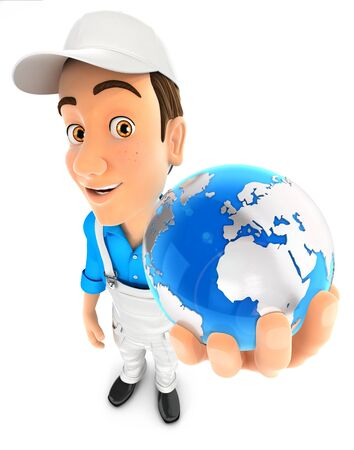 3d painter holding blue earth, illustration with isolated white background Zdjęcie Seryjne