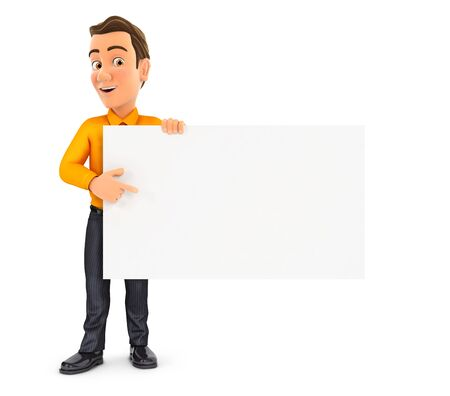3d man pointing empty board, illustration with isolated white background