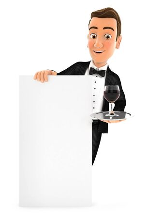 3d waiter standing behind vertical board, illustration with isolated white background Zdjęcie Seryjne